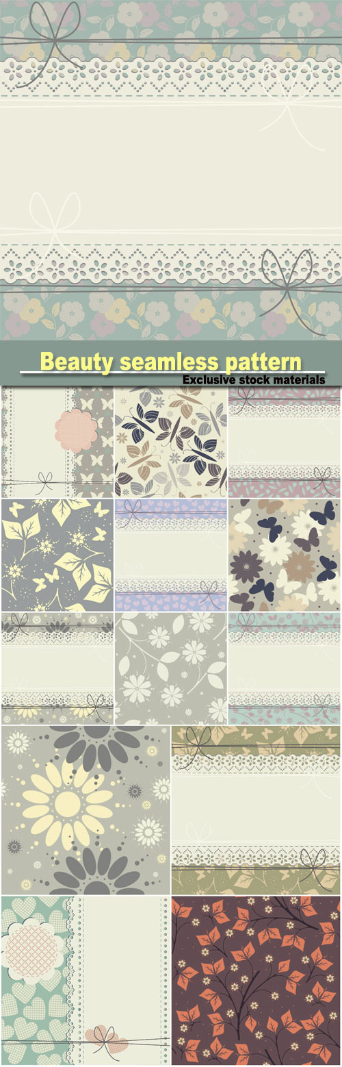 Beauty seamless pattern with flowers, lace frame