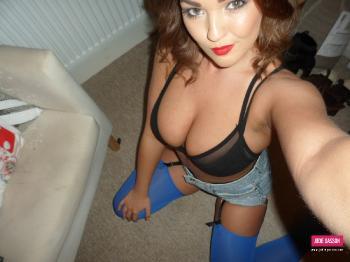 selfshot086 Black Bra And Blue Stockings