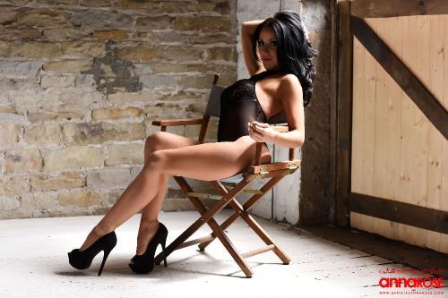 Anna Rose In Her Sexy Black See Thru Bodysuit