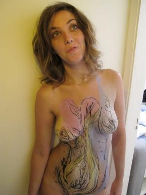 Nice amateur girl body painting