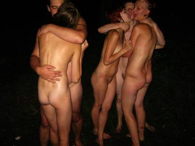 Group of amateur having great fun outdoors