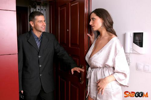 Busty Sensual Jane opens the door to a lucky Dude